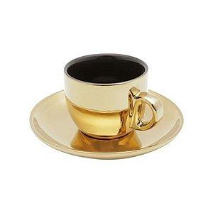 Conjunto 6 Xícaras Café Porcelana Com Pires Versa Preto/Dourado  90ml
