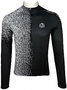 Camisade Ciclismo Manga Longa Muhu Solid Color Black White