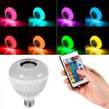 Lâmpada Led 12w Musica Rgb Caixa De Som Bluetooth + Controle