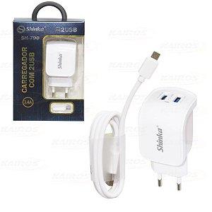 CARREGADOR 3.4 A C/ DUAS PORTAS USB- SHINKA - SH-790-V8