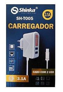 Carregador Tomada 2 Usb 5v- 3.1a - Chips Inteligente - Proteçao De Carga Total - Shinka Sh-t005-v8