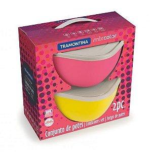 Conjunto de potes Mix Color 4 litros 2 peças Tramontina rosa e amarelo