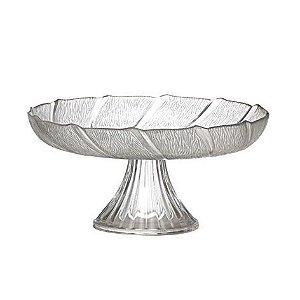 Prato de sobremesa de vidro com pé Luvidarte