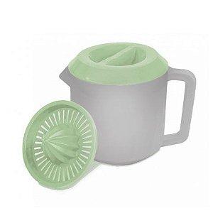 Jarra com espremedor 1 litro cinza com tampa verde Plasvale