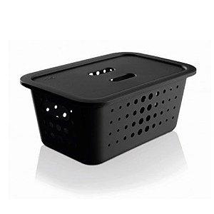 Caixa organizadora M com tampa - preta - Ou