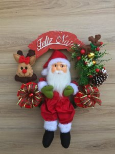 Guirlanda Papai Noel 50cm com rena Vicentin