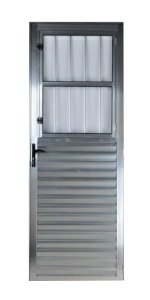 Porta De Aluminio  2,10 X 0,80 Direita Cor Brilhante Corde Alumínio Natural Brilhante -