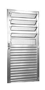 Porta De Aluminio  2,10 X 0,80 Direita  Cor Brilhante Corde Alumínio Natural Brilhante