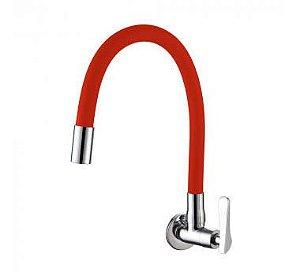 Torneira Gourmet Flexível Vermelha Cozinha Metal Silicone - Doan (Parede)