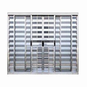 Veneziana 6 Folhas Duas Fixa e Quatro Móveis Alumínio (brilhante) com Vidro Liso Incolor - Linha Modular c/ Grade 1,00 x 1,20