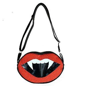 Bolsa Boca Vampiro Glitter Vermelho