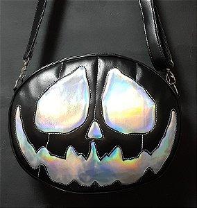 Bolsa Nara Prado Abóbora Halloween Black Holographic Monster