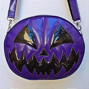 Bolsa Nara Prado Abóbora Halloween Dark Smile Roxa e Preta