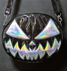 Bolsa Nara Prado Abóbora Halloween Black Vinil & Holographic Dark Monster