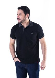 Camisa Polo Manga Curta Preto e Cinza Escuro Contraste - XK215-02