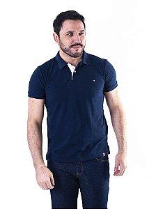 Camisa Polo Manga Curta Azul Marinho e Branco Lisa - XK213-03