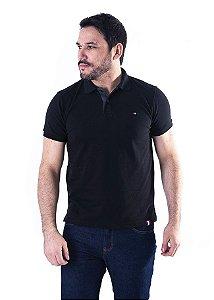 Camisa Polo Manga Curta Preto e Cinza Escuro Lisa - XK213-02