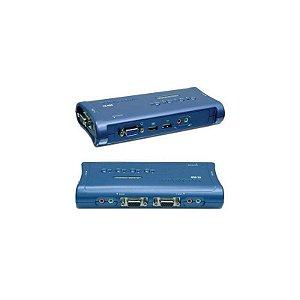 Chaveador KVM TRENDnet USB 4 portas TK-409K com Áudio e cabos Inclusos