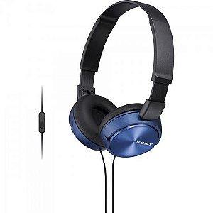 Fone de Ouvido com Microfone MDR-ZX310AP Preto/Azul SONY