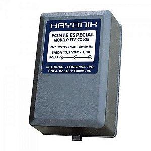 Fonte FTVCOLOR 13,5VDC 1,8A p/TV COLOR Plug C+ HAYONIK