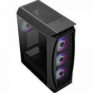 Gabinete Gamer Mid Tower RGB Aero One Frost Preto AEROCOOL