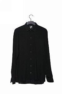 camisa linho manga longa preto
