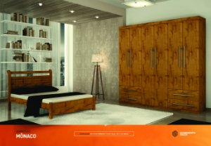 Dormitorio Mônaco Com Ropeiro 6 Portas e 4 Gavetas Mais Cama Casal