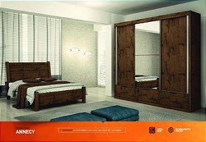 Dormitorio Annecy Com Ropeiro 3 Portas De Correr 4 Gavetas Mais Cama Casal