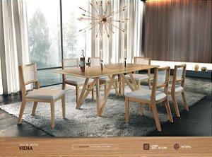 Sala De Jantar Viena Com Mesa Em Tampo De Vidro e 6 Cadeiras Com Assento de Espuma D26