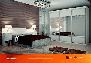 Dormitorio Arsenal Com Ropeiro 3 Portas De Correr 6 Gavetas Mais Cama Casal