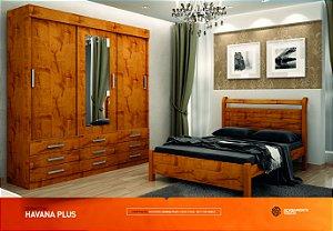 Dormitorio Havana Plus Com Ropeiro 3 Portas de Correr e  9 Gavetas Mais Cama Casal