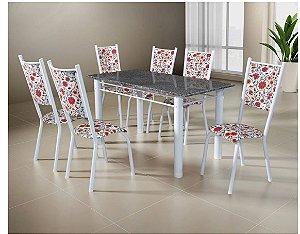 Conjunto Mesa Tubular Ametista Com 6 Cadeiras e Tampo de Granito