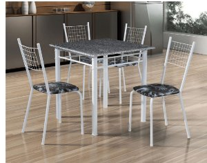 Conjunto Mesa Tubular Ana Bela Com 4 Cadeiras e Tampo de Granito