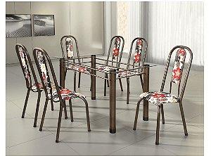 Conjunto Mesa Tubular Delicata Com 6 Cadeiras e Tampo de Granito