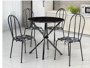 Conjunto Mesa Tubular Estrela Com 4 Cadeiras e Tampo de Granito