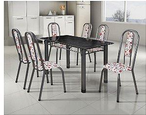 Conjunto Mesa Tubular Fortaleza Com 6 Cadeiras Prata e Tampo de Granito