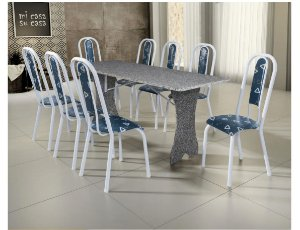 Conjunto Mesa Tubular Iris Com 8 Cadeiras e Tampo de Granito