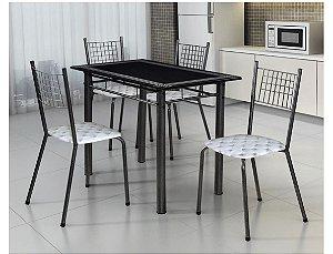 Conjunto Mesa Tubular Onix Com 4 Cadeiras e Tampo de Granito