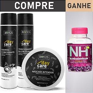 KIT RECONSTRUÇÃO CAPILAR + New Hair - DAY CARE RE-INTENSE (Envio em até 24hrs)