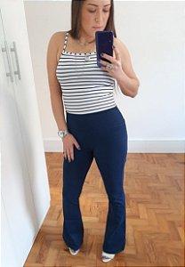Calça Flare - Em Poliamida - Preta | Azul Marinho
