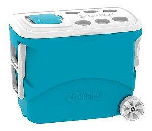 Caixa Térmica 50 Litros Cooler Rodas Azul Soprano