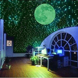 2 Adesivo Da Lua  Estrelas 200 Unidades Fluorescente Parede