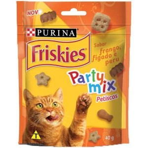 Petisco Nestlé Purina Friskies Party Mix Frango, Fígado e Peru para Gatos Adultos 40 g