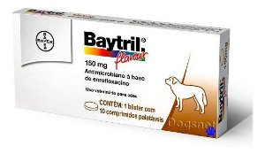 Antimicrobiano Baytril Flavour 150 mg - 10 comprimidos