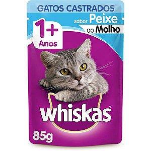 Ração Úmida Whiskas Sachê Peixe ao Molho para Gatos Adultos Castrados