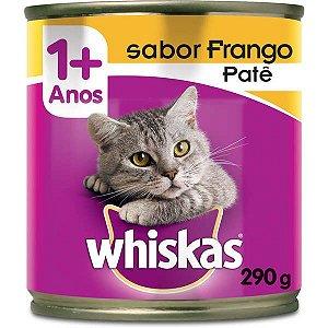 Ração Úmida Whiskas Lata Patê de Frango para Gatos Adultos - 290 g