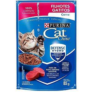 Ração Úmida Nestlé Purina Cat Chow Sachê Filhotes Carne ao Molho