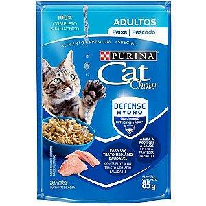 Ração Úmida Nestlé Purina Cat Chow Sachê Adultos Peixe ao Molho