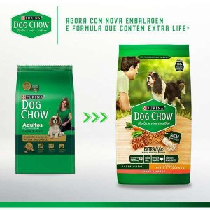 Ração Dog Chow Extra Life Carne e Arroz Cães Adultos Raças Pequenas