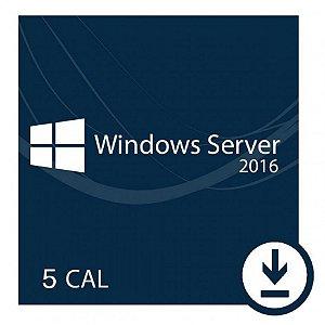 Pacote De 5 Cals De Usuário ou Dispositivos Para Windows Server 2016 / R2
